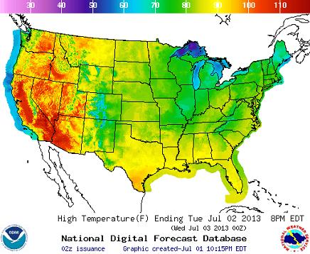 Us High Temp Map US high temp map | Fire Earth
