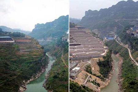 Landscape changes along  banks of the Chishui River