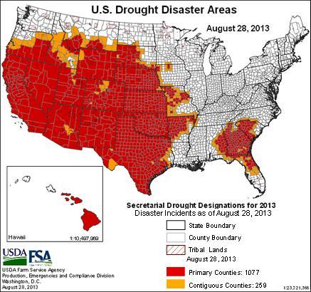 US agri disaster map - 28aug2013