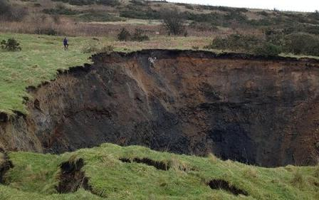 sinkhole in Foolow, England