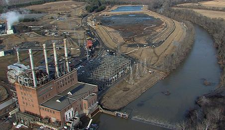 Aerial view of retired Dan River Steam Station and ash basins