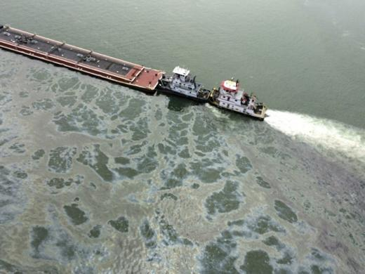 US Coast Guard photo showing oil spill in Houston Ship Channel