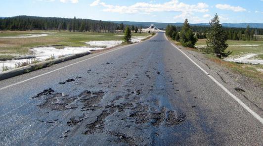 melting pavement at YNP