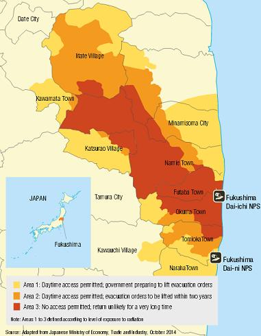Mandatory evacuation zones in Fukushima prefecture