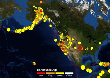 U S Earthquake Map Fire Earth